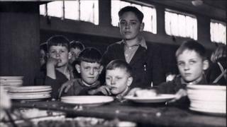 Boys queuing up in dining hall (c) Coram in the care of the Foundling Museum