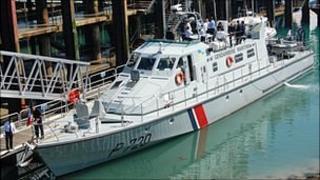 Gendarmerie Maritime vessel Geranium in St Peter Port harbour