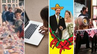 From left: 1977 street party, girl on computer in 21st Century; poster for Mexican-themed royal party in 2011 and Lamb Tavern gets ready for 29 April, 2011