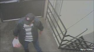 """A still image of a man investigators have said is a """"person of interest"""" in the Colorado incident"""