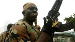 Soldier of the Republican Forces, loyal to new President Ouattara