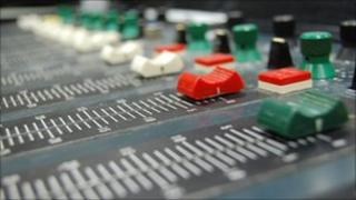 Faders on a desk