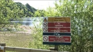Warning sign at reservoir in north west England