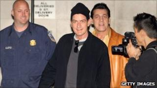 Actor Charlie Sheen arrives for his performance in Washington DC