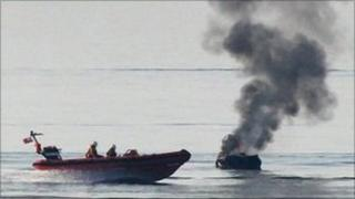 Yacht on fire off coast of Brighton