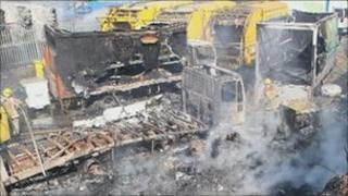 Recycling centre fire