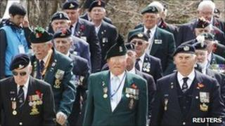 British war veterans marching during the Gloster Valley memorial service