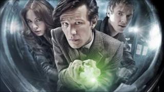 Doctor Who star Matt Smith with Karen Gillan (l) and Arthur Darvill (r)