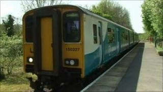 Train at Llanwrda station, Carmarthenshire
