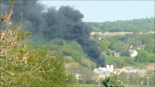 Black smoke pours from the fire at the Brynmenyn Industrial Estate, Bryncethin