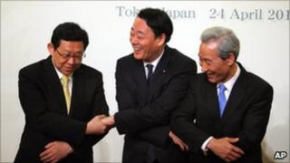 Trade ministers of Japan, South Korea and China