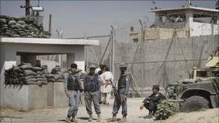 Afghan prison main gate in Kandahar - 25 April 2011