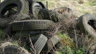 Dumped tyres