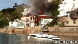 Salcombe house on fire