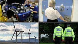 Montage of manufacturing, prison, windfarm and police officers