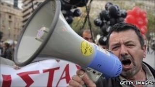 Greek anti-austerity protestor
