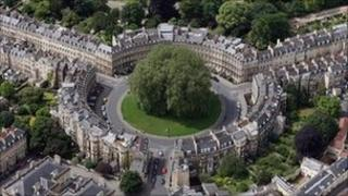 Aerial view of The Circus and other streets in the centre of Bath