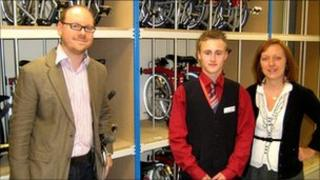 James Wright from Virgin Trains, Nathan Barber who works on the bikes, and Heather Hodgkinson the station manager