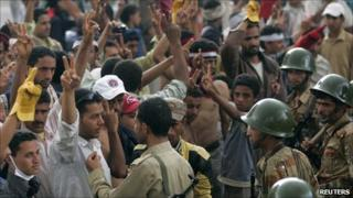 Young anti-government protesters in Taiz (26 April 2011)