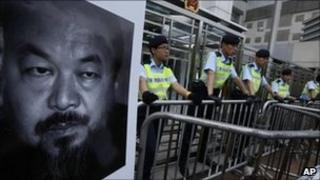 Human rights protest in support of detained artist Ai Weiwei outside the China Liaison Office in Hong Kong on 10 April