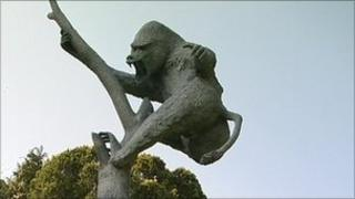 Baboon sculpture