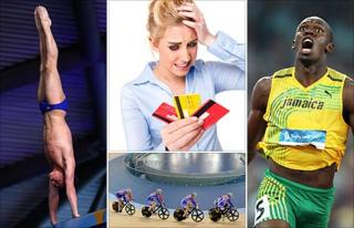 Clockwise from left: Tom Daley, a woman with credit cards, Usain Bolt, and cyclists