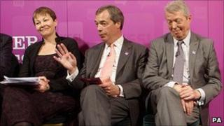 Alan Johnson (right), Nigel Farage and Caroline Lucas