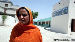 Mukhtar Mai outside her school in southern Punjab, 26 April 2011