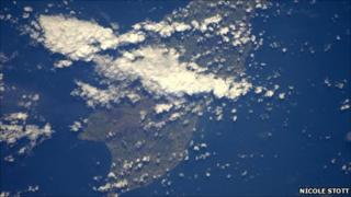 Photograph of the Isle of Man, taken from space shuttle Discovery