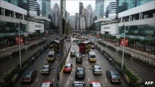 Traffic and skyscrapers in Hong Kong
