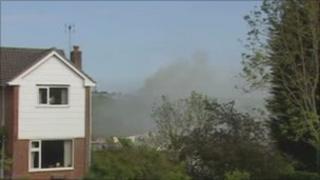The blaze at housing estate