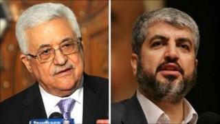 Mahmoud Abbas (l) and Khaled Meshaal