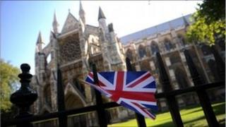 A union jack outside Westminster Abbey