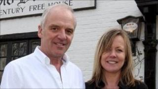 Landlord of the Old Boot inn John Haley and partner Pam Brown
