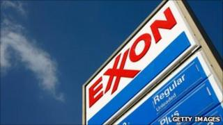 An Exxon petrol station advertises its prices