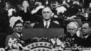 US President Franklin D Roosevelt gives his inaugural address