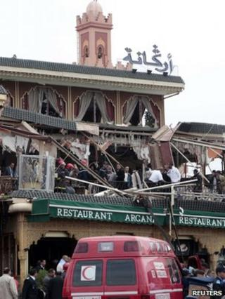 People by the bomb-damaged Argana cafe, Marrakesh, Morocco (28 April 2011)