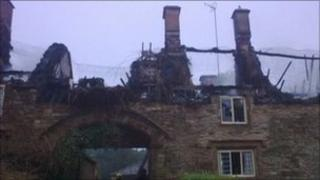 House destroyed by the fire in Great Tew