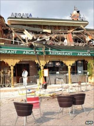 Scene of the bomb attack on a cafe in Marrakesh