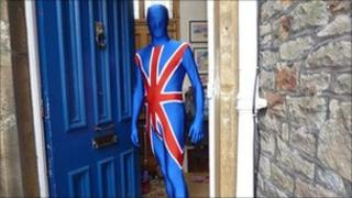 Jeremy Welsh, from Redland in Bristol, gets in the royal wedding spirit