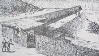 Drawing of Treblinka by Samuel Willenberg