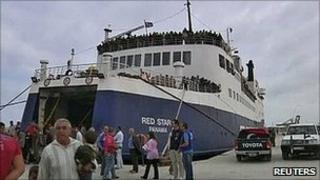 Ferry from Misrata arrives in Benghazi. 28 April 2011