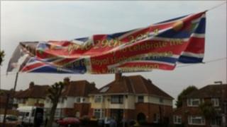 Royal wedding banner in Burnham-on-Sea