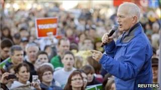 NDP leader Jack Layton addressing a crowd at a rally