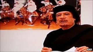 Grab of Col Muammar Gaddafi speaking on Libyan state TV, 30 April 2011