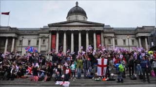 Crowds building in Trafalgar Square