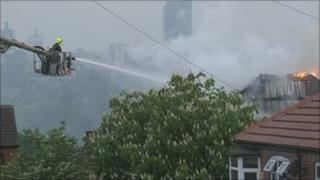 Crews tackle the fire fire in Leeds