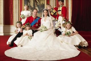 Photo issued by Clarence House of the bride and groom with attendants