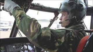 Prince William inside a search and rescue helicopter