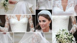 Images showing the Duchess of Cambridge's wedding dress as stepped out of Westminster Abbey